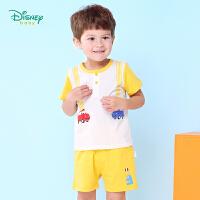 【3件3折到手价:57.9】迪士尼Disney童装男童夏装纯棉新品休闲服卡通汽车宝宝短袖仿背带运动裤子T恤