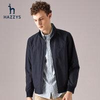 Hazzys哈吉斯新款男士外套�n版休�e�r尚�L袖防��A克衫潮流男�b