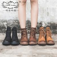 玛菲玛图2018新款短靴女靴春 单靴子真皮平底复古马丁靴女帅气系带机车鞋530-16