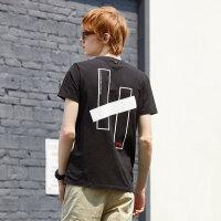 【1件2.5折到手价:24.8】美特斯邦威男装夏季新款潮圆领字母印花男士宽松大码短袖T恤