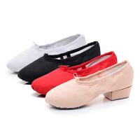教师鞋带跟舞蹈鞋女帆布软底练功鞋民族舞瑜伽肚皮舞鞋粉红白黑绿