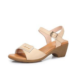 Camel/骆驼女鞋 2018夏季新品 时尚优雅一字扣珠饰气质粗跟凉鞋