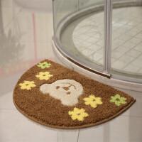 半圆吸水地垫 门垫卧室卫浴防滑脚垫绒面地毯卫生间垫子 驼色 提花熊