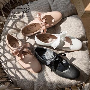 满298下单立减70 玛菲玛图玛丽珍chic小皮鞋2018新款女鞋浅口绑带蝴蝶结低跟单鞋女1716-3
