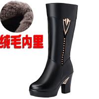 冬季真皮高跟中筒靴女棉靴子羊毛厚底女靴皮毛一体粗跟加绒棉皮靴SN8591