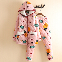 个性菠萝睡衣女冬三层加厚加绒带帽可爱珊瑚绒夹棉睡衣家居服套装 浅虾 08菠萝
