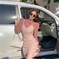 套�b2020年新款女秋冬�n版�r尚泡泡袖上衣+吊�нB衣裙洋��杉�套