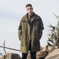 新款风衣冬季韩版修身披风外套男中长款呢大衣 军绿色