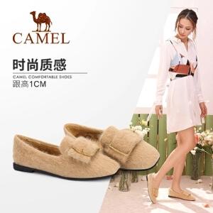 【满299减200元】骆驼女鞋 秋季新款时尚优雅金属扣饰女低跟单鞋个性毛毛鞋子