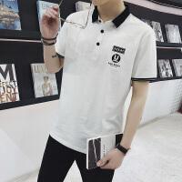男士短袖T恤翻领 polo衫短袖男修身有带领韩版青年英伦潮