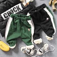 儿童加绒休闲裤冬款中小男童宝宝球拼色收脚运动长裤子棉裤黑绿色