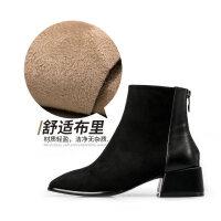 妙侣2018秋冬新款中跟圆头chic短靴女英伦复古学生粗跟后拉链踝靴