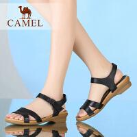 camel骆驼女鞋夏新款简约低跟露趾女凉鞋舒适软面牛皮魔术贴休闲鞋