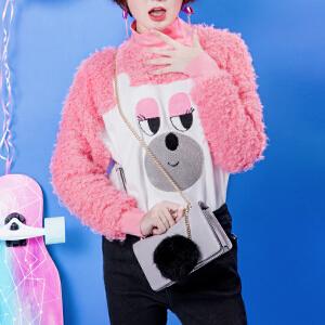 2017新款chic包包女韩版个性毛球装饰小方包单肩斜挎时尚链条包潮