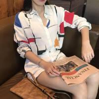 港味春季韩版Chic复古宽松撞色几何图案单排扣气质长袖衬衫女新款