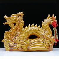 陶瓷龙摆件生肖龙青龙黄龙红龙黑龙工艺品龙镇宅风水龙摆件