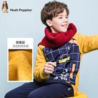 【3折价:88.8元】暇步士童装冬季新款男童加绒卫衣时尚印花拼色卫衣儿童加绒卫衣