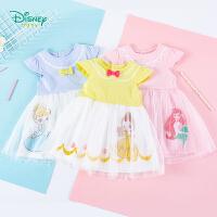迪士尼Disney童装 女童网纱连衣裙迪斯尼公主裙夏季新品小飞袖裙子甜美可爱