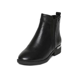 Tata/他她冬黑色牛皮通勤简约风套筒方跟女短靴U4096DD6
