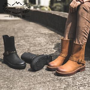 玛菲玛图厚底马丁靴女秋季新款中跟圆头中筒靴女侧拉链皮带扣牛皮单靴T6-6