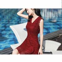蕾丝连衣裙女2018夏季v领高腰修身显瘦时尚气质字裙无袖短裙 酒红色