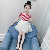 女童夏装2018新款洋气套装韩版儿童短袖两件套裙子小女孩童装春装8391 图片色