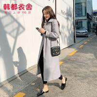 韩都衣舍2019冬装新款韩版女装收腰中长款纯色风衣RJ9020��