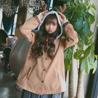 秋冬季女装韩版学生宽松2018新款连帽短款外套长袖学院风呢子大衣 浅棕色