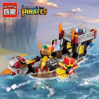 启蒙积木拼装小颗粒模型6-10岁儿童益智玩具海盗系列海洋之子1307 儿童礼物 拼装积木玩具 345块颗粒