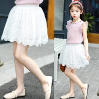 夏季新款女童轻薄半身裙女儿童洋气花边裙短裙子白色
