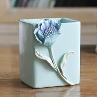创意粉蓝虞美人笔筒笔盘办公室梳妆台桌面收纳摆件送女生实用礼物