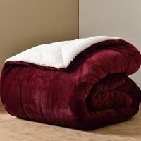 三层毛毯被子加厚双层冬季法兰绒盖毯双人羊羔绒毯子保暖珊瑚绒毯