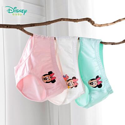 【2件3.5折到手价:39.2】迪士尼Disney童装 女童舒适透气三角裤迪斯尼宝宝新品米妮卡通印花内裤3条装201P841 女宝三角内裤(3条装)