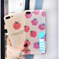 【包邮】夏日清新桃子苹果7plus手机壳iPhoneX蓝光镭射新款6s创意8p抖音 全包女iphone6S手机壳7pl