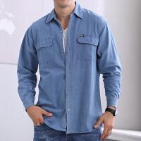 中年男士长袖牛仔衬衫夏季翻领外套常规款服外套夹克男装qg