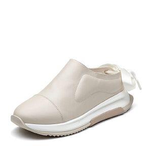 Teenmix/天美意2018春专柜同款米白色牛皮绸缎系带后空女凉鞋POLIMODA【克制】CCZ30AH8