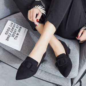 ZHR2018秋季新款尖头浅口单鞋小粗跟休闲鞋高跟鞋百搭黑色女鞋子