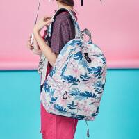 双肩包女夏新韩版时尚简约印花初中高中学生书包大容量校园背包