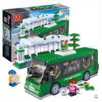 【小颗粒】邦宝创意拼插积木益智校车汽车玩具 城市交通巴士站8768