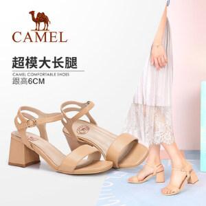骆驼女鞋 2018夏季新款高跟凉鞋 露趾网红凉鞋时尚晚晚粗跟凉鞋女