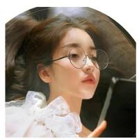 韩国金属眼镜复古vintage大圆框小清新文艺森女软妹平光眼镜