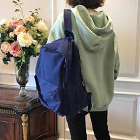 韩版学院风纯色拼接帆布中学生男女书包简约百搭情侣双肩包背包