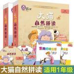 正版大猫自然拼读一级1+2全套2本小学一年级读物+阅读指导+