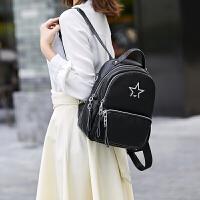 双肩包女士2018新款韩版背包女潮软皮休闲时尚旅行大容量书包双肩 黑色送暴力熊