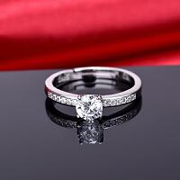 s925银钻石戒指 韩版四爪镶嵌戒指情侣定制饰品 个性简约情人节礼物