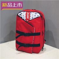 2018时尚潮流英伦风背包校园男女大学生电脑包纯色书包防水个性双肩包 防水可开盖多个兜 红色