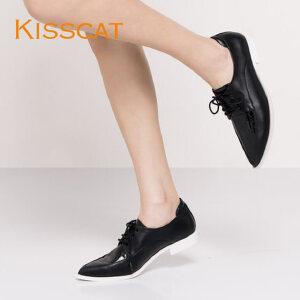 接吻猫运动风平底尖头牛皮深口单鞋女DA76517-50