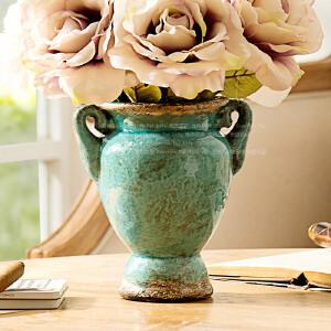 奇居良品 陶艺陶瓷花瓶花盆花器 马特古典花瓶白色蓝色 小号
