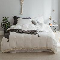 水洗棉四件套简约流苏款纯色公主1.5m床单被套床上用品