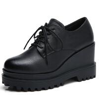 秋冬新款小皮鞋女英伦学院风高跟鞋中跟粗跟圆头棉鞋